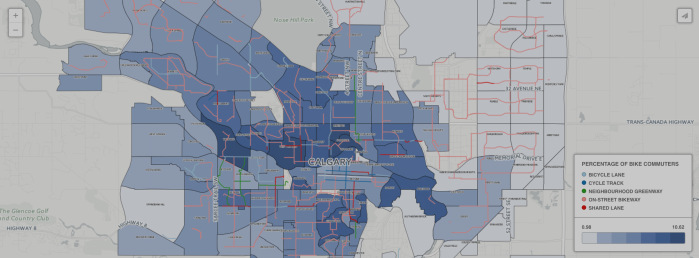 The number of Calgarians commuting by bike on therise
